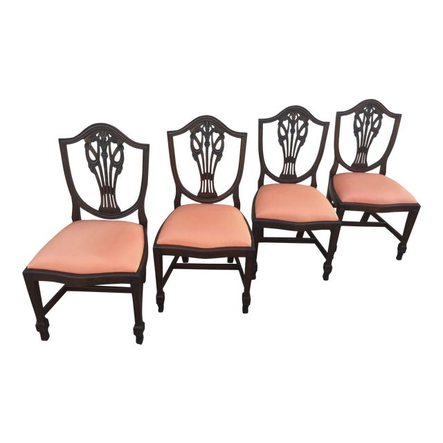 Antique Hepplewhite Mahogany Shield Back Chairs Prince of Wales Plumes -  Set of Four - Antique Hepplewhite Mahogany Shield Back Chairs Prince Of Wales