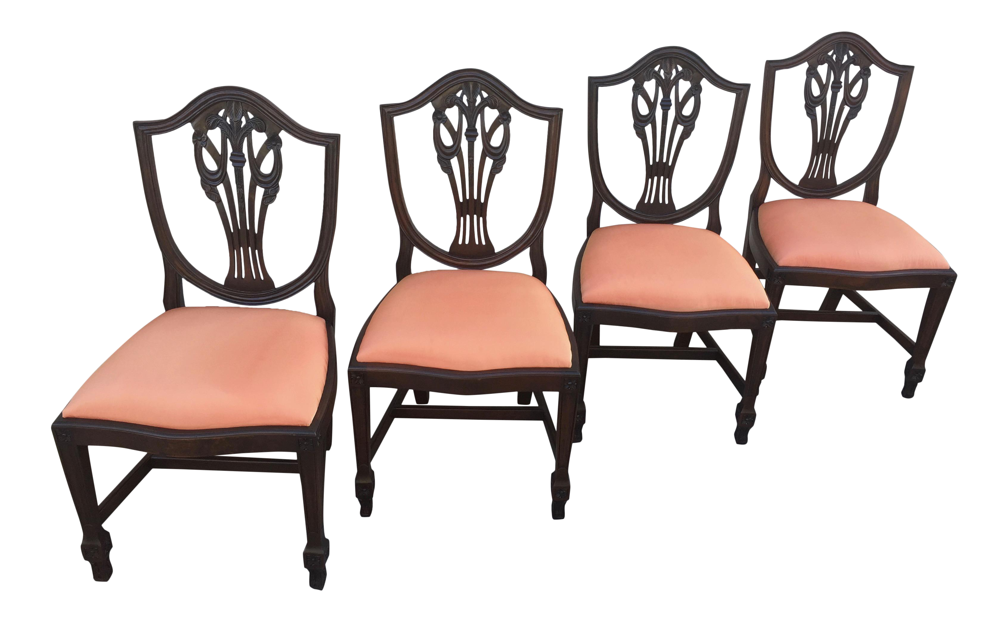 Antique Hepplewhite Mahogany Shield Back Chairs Prince Of Wales Plumes    Set Of Four
