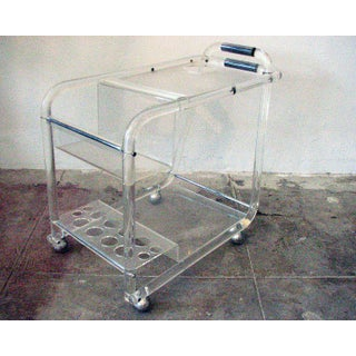 Mid-Century Lucite Bar Cart With Chrome Accents Preview