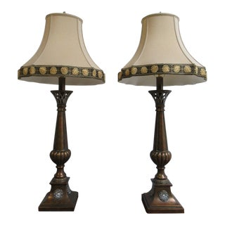 Ethan Allen French Regency Flame Table Lamps - A Pair For Sale