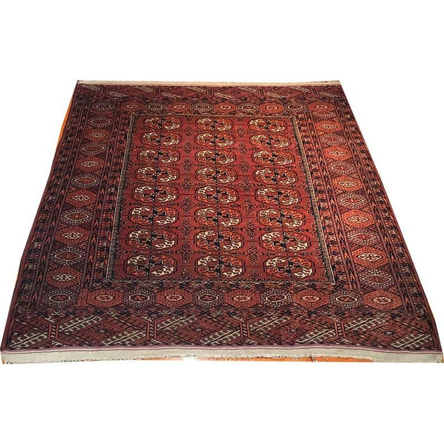 Antique Turkoman Rug: Antique Tribal Tekke Turkoman Area Rug - 4′6″ × 5′