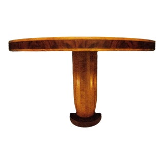 Burled Wood Classic Taper Fluted Console Table For Sale