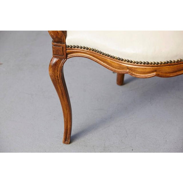 Metal Louis XV Style Walnut Fauteuil in Nail Trimmed Creme Leather For Sale - Image 7 of 10