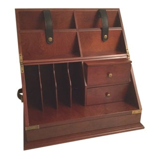 Campaign Style Mahogany Veneer Desktop Folding Organizer For Sale