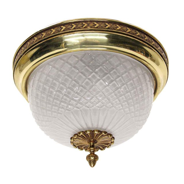 Vintage Waldorf Astoria 12.5 In. Cut Glass Flush Mount Fixture For Sale - Image 9 of 9
