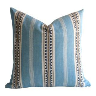Aqua Serape Stripe Pillow For Sale
