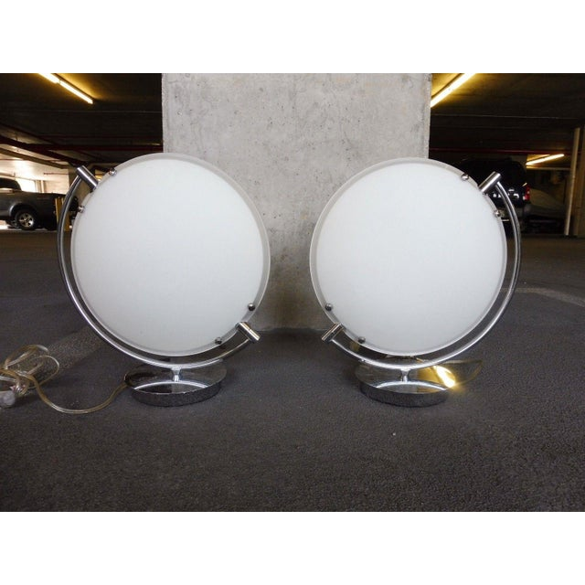 Mid-Century Modern Space Age Post Modern Flying Saucer Clam Shell Table Lamps - a Pair For Sale - Image 3 of 6