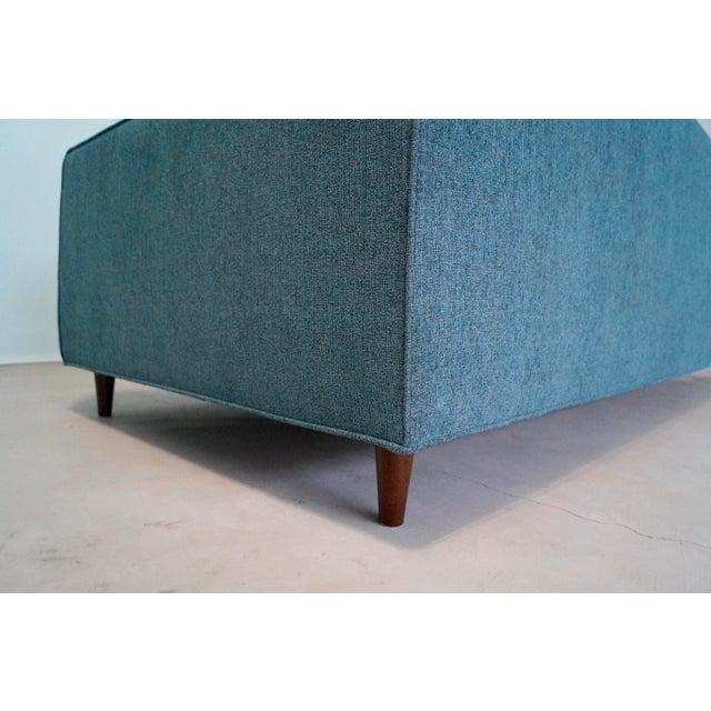 Original Mid-Century Modern Reupholstered Tweed Sofa - Image 8 of 11
