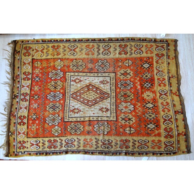 1900s Handmade Antique Moroccan Berber Rug 4' X 7.6' For Sale - Image 10 of 11