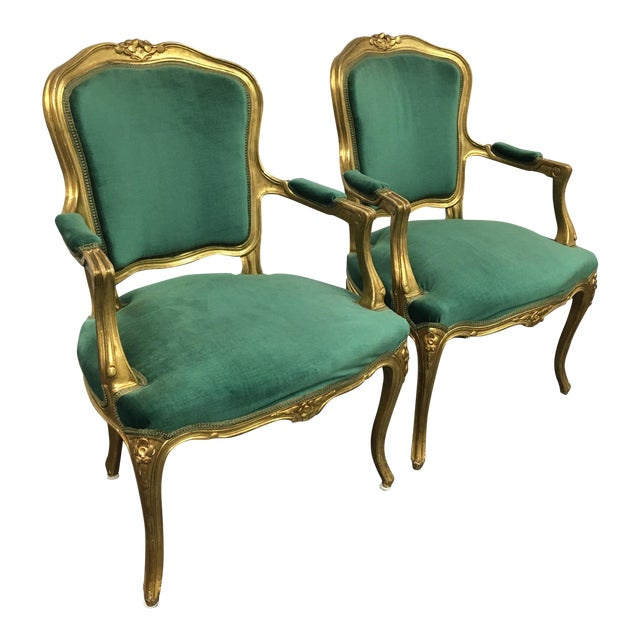 Vintage Green Louis XV Chairs - Pair For Sale