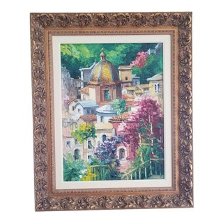 DiVicarro Positano Da Cathedral, Italy Original Oil Painting For Sale