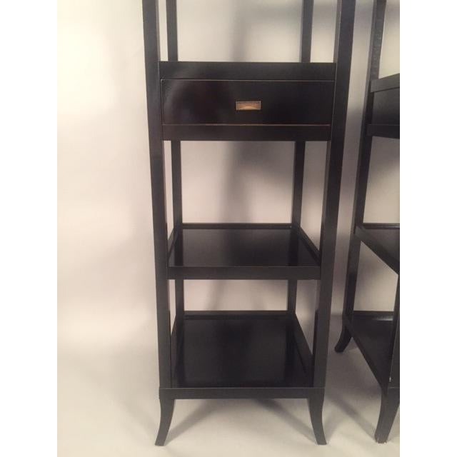 Contemporary Contemporary Wood Black Lacquered Etagere Shelves - A Pair For Sale - Image 3 of 9