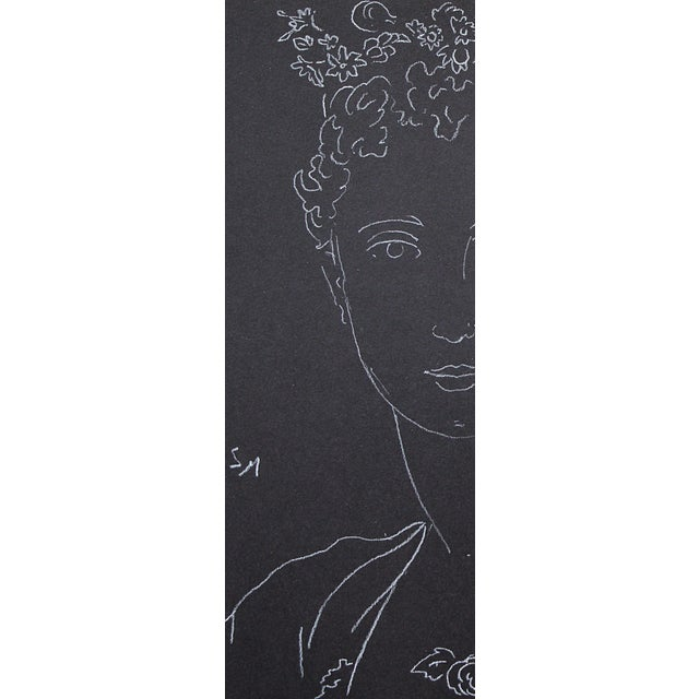 """Figurative Sarah Myers """"Woman With an Urn of Flowers"""" White Charcoal Drawing For Sale In Kansas City - Image 6 of 9"""