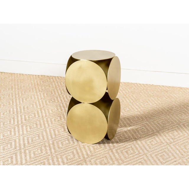 2020s Antique Brasstone Disk 'Lola' Modern Side Table For Sale - Image 5 of 5