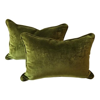 Green Cut Velvet Pillows - A Pair