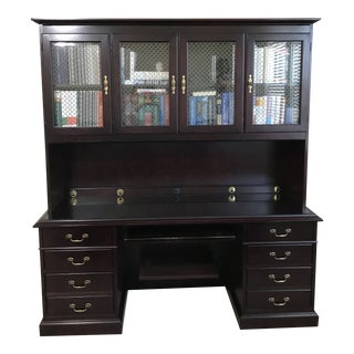 Paoli Executive Keybord Credenza With Upper Bookcase For Sale