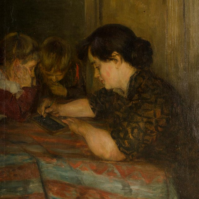 """19th Century """"Family Time"""" Figurative Oil Painting For Sale - Image 4 of 11"""
