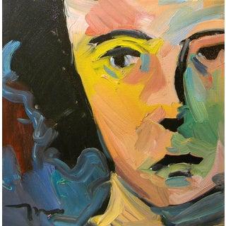 Jose Trujillo Impressionism Original Oil Painting Portrait Woman Half Face Coa For Sale