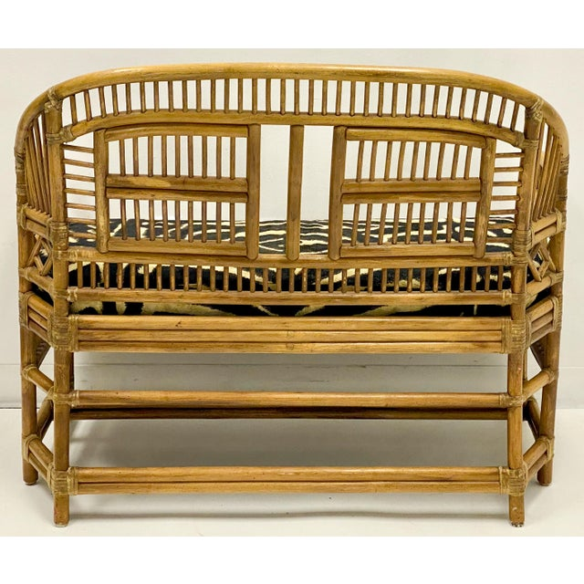 Chinese Vintage Bamboo Chinese Chippendale Style Settee in Ralph Lauren For Sale - Image 3 of 5