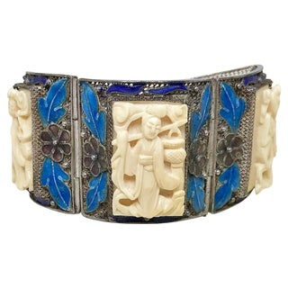 1940s Chinese Sterling, Enamel and Ox Bone Bracelet For Sale