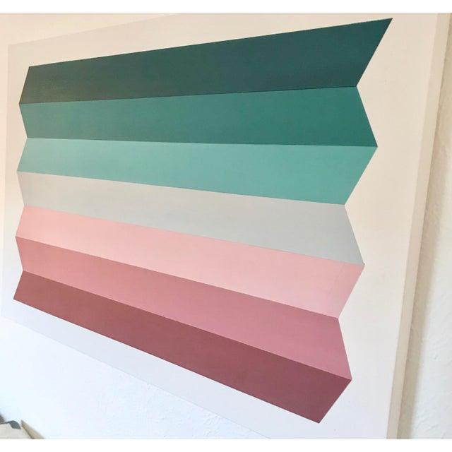 "2020s Natasha Mistry Acrylic Origami Painting"" Dark-Teal to Claret"" For Sale - Image 5 of 10"