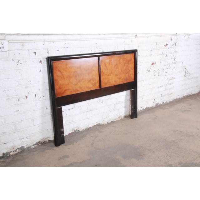Mid-century modern queen or full size headboard Designed by Edward Wormley for Dunbar Furniture USA, circa 1960s Olive ash...