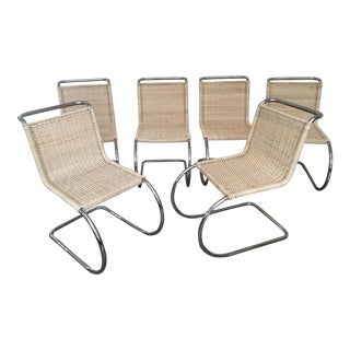 Vintage Mies Van Der Rohe Mr10 Chrome & Rattan Chairs - Set of 6