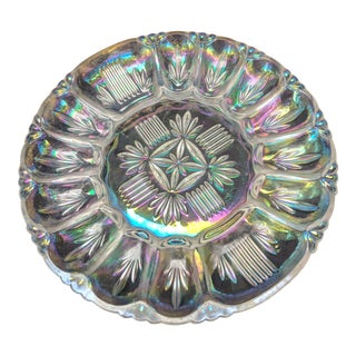 Federal Glass Carnival Iridescent Clear Serving Platter Egg Plate