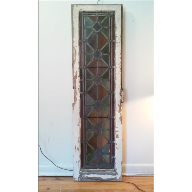 Antique Vintage Art Deco Stained Glass Window - Image 5 of 8