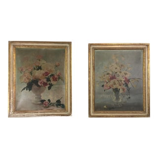 Antique Floral Paintings, a Pair For Sale