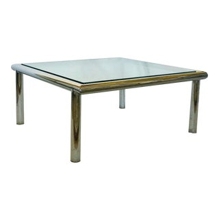 Chromed Steel Tubing Coffee Table in the Style of Mascheroni For Sale