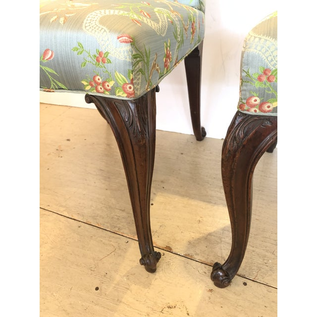 18th Century Georgian Side Chairs Dressed Up in Scalamandre Upholstery -A Pair For Sale - Image 4 of 13