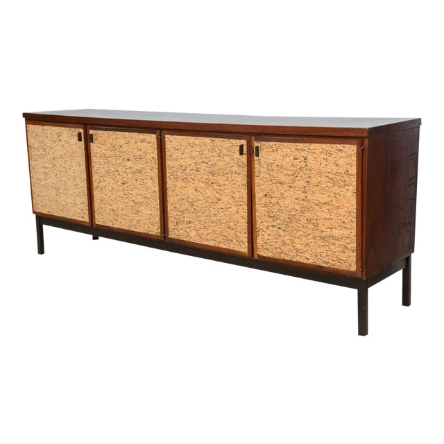 Italian Modern Mahogany and Cork Four-Door Credenza or Buffet For Sale