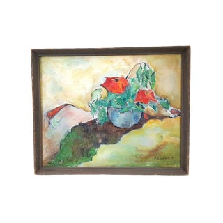 Original Signed Oil on Canvas Abstract Still Life For Sale