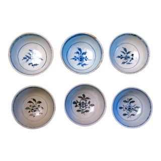 16th Century Anamese Blue and White Ceramic Bowls From Hoi an Hoard - Set of 6 For Sale