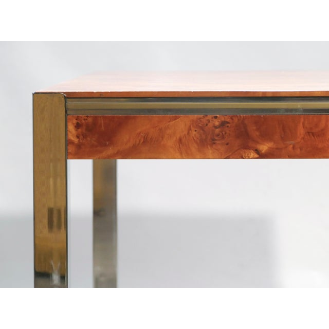 Willy Rizzo Burl Chrome Brass Dining Table, 1970s For Sale - Image 9 of 11