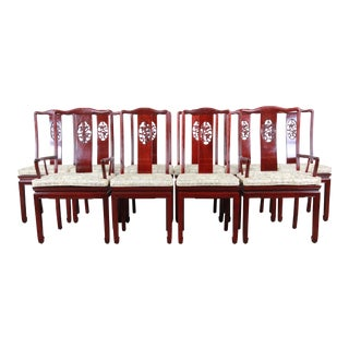 Vintage Carved Solid Rosewood Chinese Dining Chairs, Set of Ten For Sale