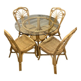 Vintage Rattan & Wicker Dining Set Table & Chairs Dinette -5 Piece Set For Sale