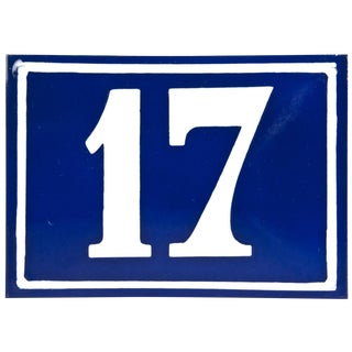 Large Vintage French Enamel House Number 17