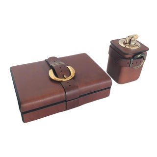 Vintage Leather Desk Duo Box & Lighter For Sale
