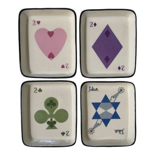 1960's Vintage Playing Card Design Trays - Set of 4 For Sale