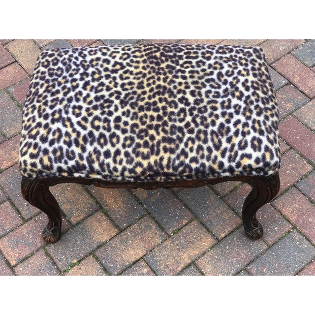 Leopard & Wood Foot Stool For Sale - Image 4 of 4