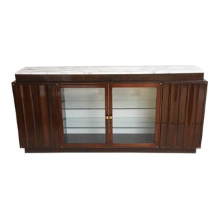Tommi Parzinger Walnut Buffet with Marble Top For Sale
