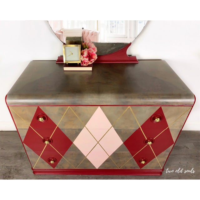 This completely redefined Art Deco vintage dresser from the 40's is of superb quality. The argyle pattern will be the...