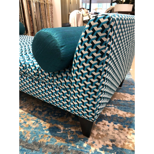 Ceramic Contemporary Teal Patterned Daybed For Sale - Image 7 of 10