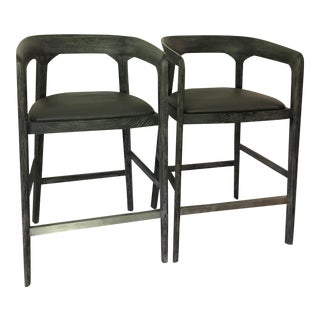 Interlude Home Modern Wood and Metal Gray Bar Stool - a Pair