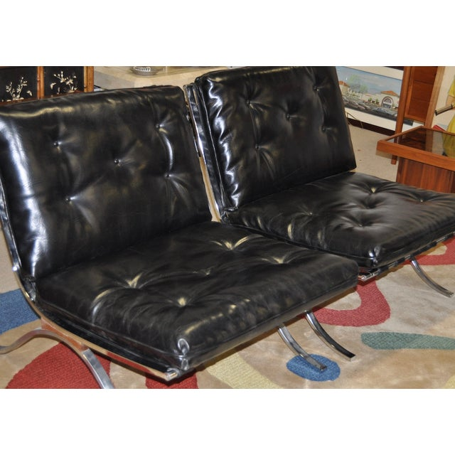 Barcelona Style Chrome & Leather Chairs - Pair - Image 3 of 8
