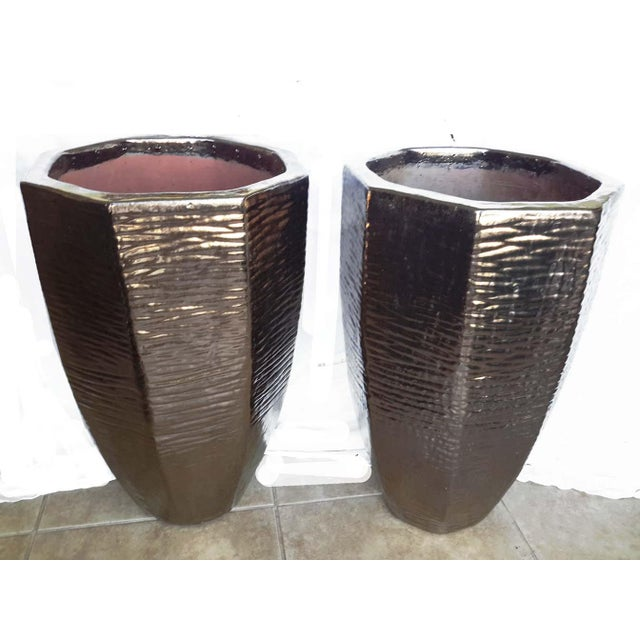 Architectural Indoor Outdoor Oversize Planters - A Pair - Image 7 of 7