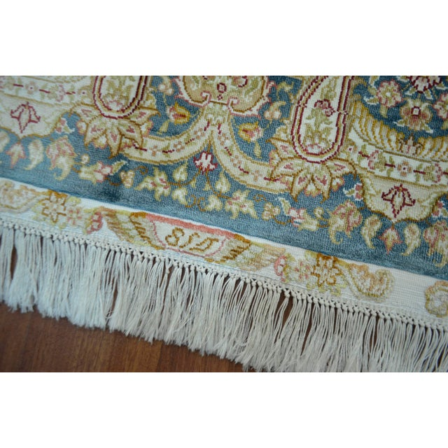 Hand Knotted Turkish Silk Rug - 4′1″ × 5′11″ - Image 8 of 9