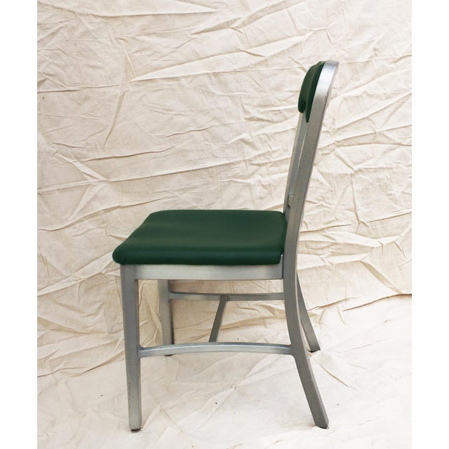 Mid-Century Modern Vintage GoodForm Aluminum Chairs Green Leather For Sale - Image 3 of 9